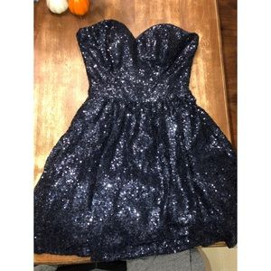 midnight blue/almost black strapless sequin dress